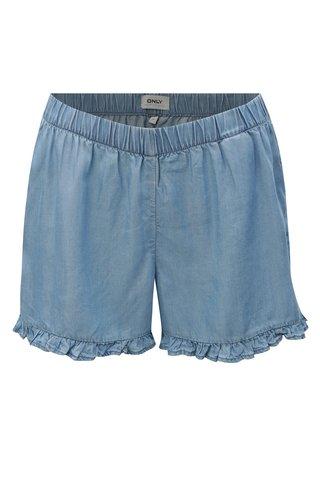 Pantaloni scurti albastri cu volane ONLY