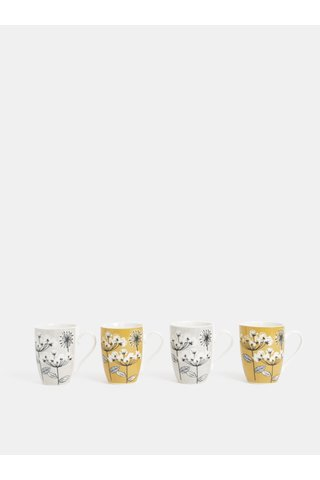 Set de patru cani de culoare gri si auriu cu model floral Cooksmart