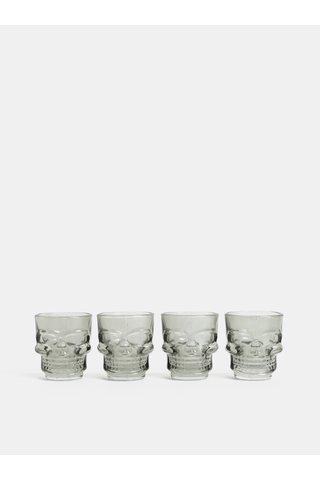 Set de patru pahare shot in forma de craniu de culoare gri Temerity Jones