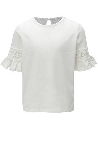 Bílé holčičí tričko s krajkou na rukávech name it Kam