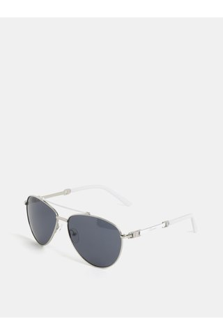 Ochelari de soare albi cu detalii argintii Gionni