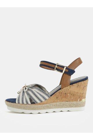 Sandale crem-albastru in dungi Tamaris