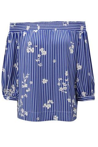 Bluza alb-albastru cu model si decolteu pe umeri Nautica