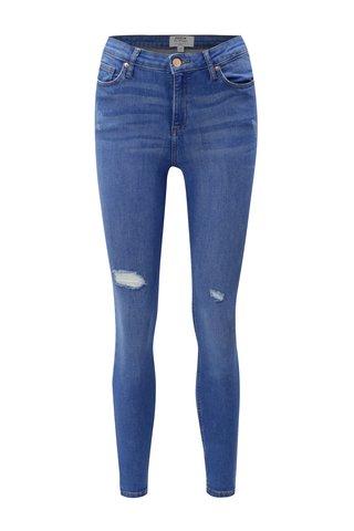 Blugi albastri super skinny din denim cu talie inalta Miss Selfridge