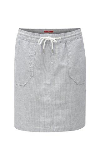 Modré lněná sukně s elastickým pasem s.Oliver