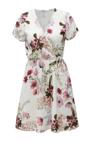 Rochie alba cu model floral, decolteu suprapus si banda elastica in talie Haily's Sina