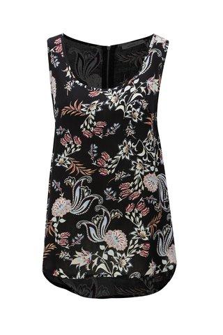 Maiou negru cu model floral cu fermoar la spate Haily´s Cami Roxanne