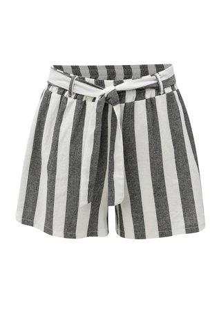 Pantaloni scurti alb-negru in dungi cu talie inalta Haily´s Alina