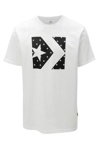 Tricou barbatesc negru-alb cu print Converse Star Fill Chevron