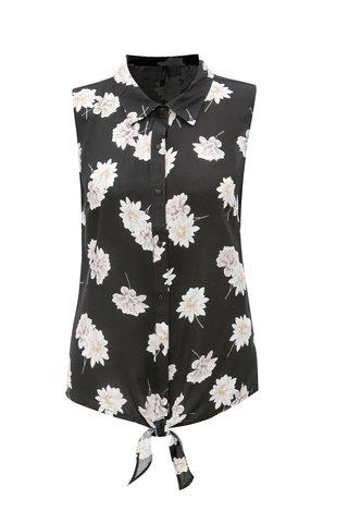 Bluza neagra cu model floral si funda Haily's Alison