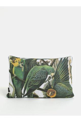 Perna alb-verde cu motiv de papagali Magpie