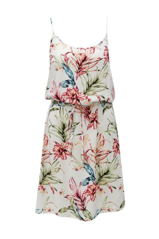 Rochie alba cu model floral si snur in talie Haily´s Tabea