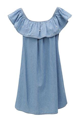 Rochie mini albastra din denim cu decolteu barcuta Haily´s Parina