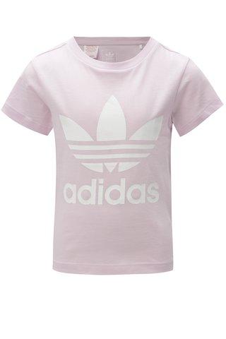 Světle fialové holčičí tričko s potiskem adidas Originals Trefoil