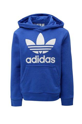 Modrá klučičí mikina s kapucí a klokaní kapsou adidas Originals Trefoil
