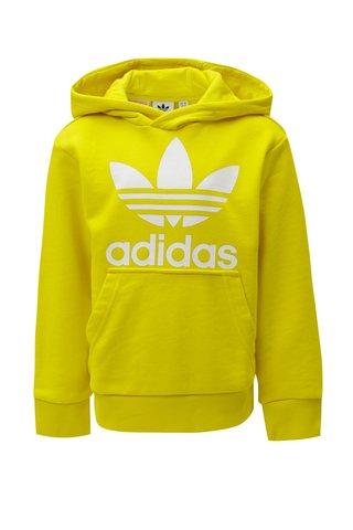 Žlutá klučičí mikina s kapucí a klokaní kapsou adidas Originals Trefoil