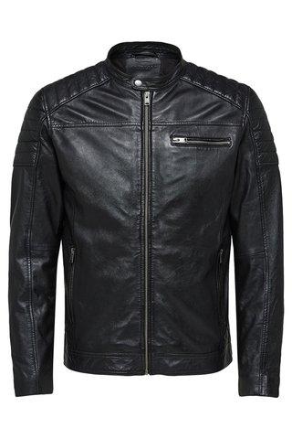 Jacheta neagra din piele naturala Selected Homme Jack