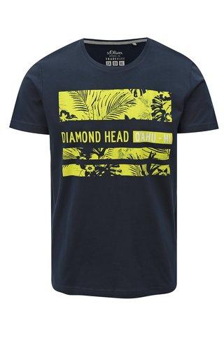 Modré pánské slim fit tričko s potiskem s.Oliver