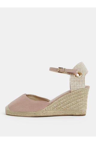 Sandale bej-roz cu platforma wedge Dorothy Perkins