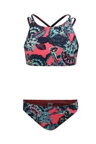 Modro-růžové holčičí květované dvoudílné plavky Roxy Le