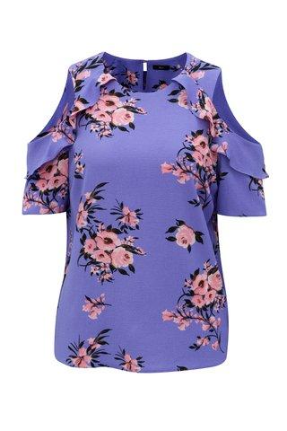 Fialová květovaná halenka s průstřihy na ramenou M&Co