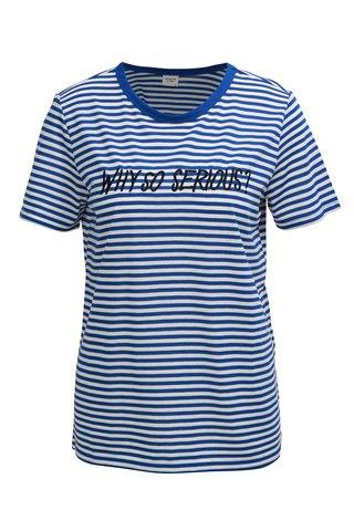 Tricou alb-albastru in dungi cu broderie Jacqueline de Yong Tolla