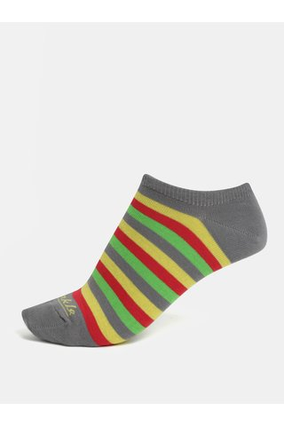 Žluto-šedé unisex kotníkové ponožky Fusakle Duha v létě