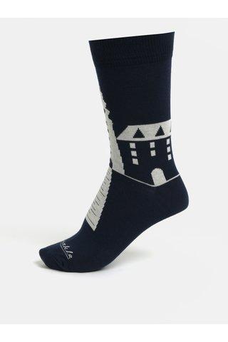Tmavě modré unisex ponožky se slovenskými dominantami Fusakle Michalská veža