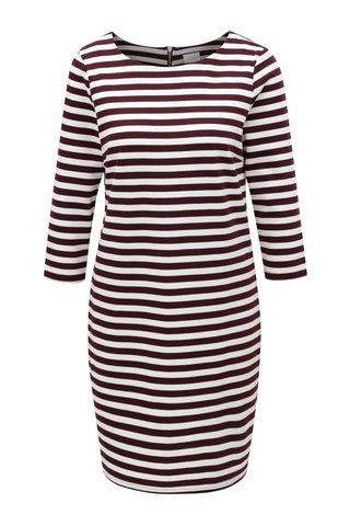 Vínovo-krémové pruhované šaty VILA Vitinny