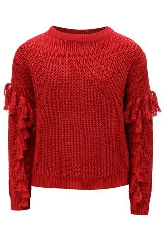 Červený holčičí svetr s třásněmi na rukávech LIMITED by name it