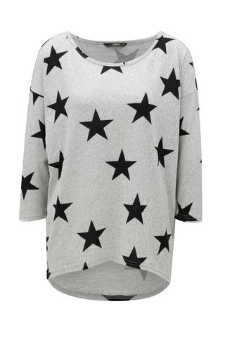 Tricou oversize gri cu model si maneci 3/4 ONLY Elcos