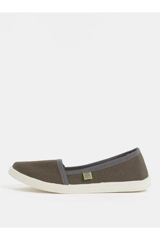 Pantofi de dama slip on kaki Canvas Oldcom