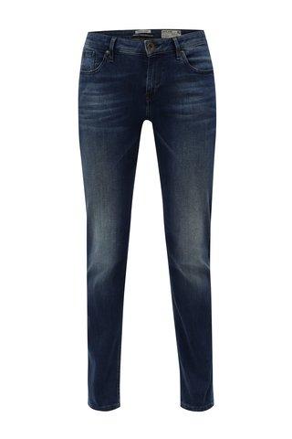 Blugi de dama albastru inchis straight din denim cu aspect prespalat Garcia Jeans Rachelle