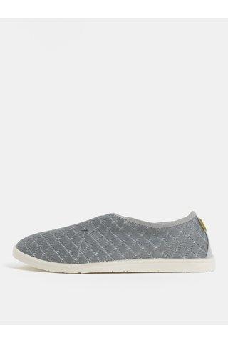 Pantofi barbatesti slip on gri cu detalii din piele naturala SUMMER Oldcom