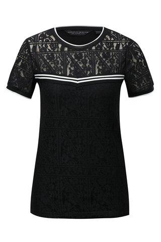 Tricou negru din dantela cu detalii in dungi Dorothy Perkins
