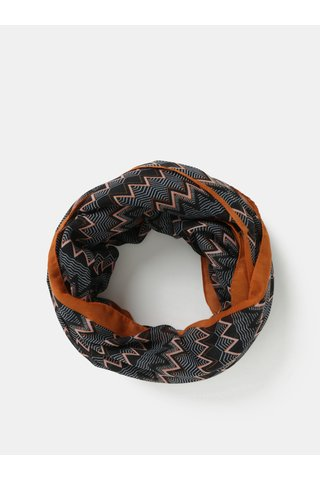 Esarfa circulara negru-maro cu model Pieces Tricana