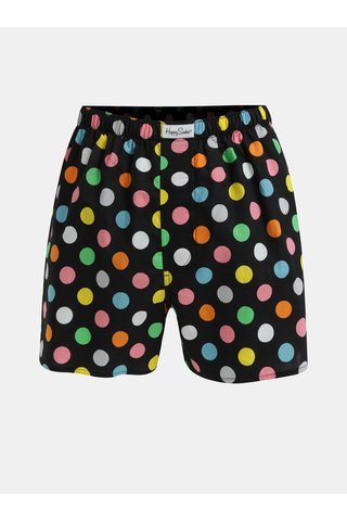 Boxeri negri cu buline Happy Socks Big Dot
