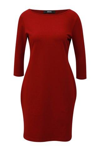 Vínové pouzdrové šaty s 3/4 rukávem ZOOT