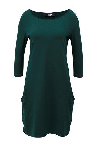 Tmavě zelené rovné šaty s kapsami ZOOT