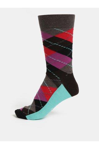 Vínovo-hnědé pánské vzorované ponožky Happy Socks Argyle