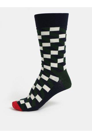 Zeleno-modré pánské ponožky Happy Socks Filled Optic Sock