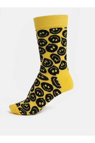 Sosete de dama galbene cu model Happy Socks Twisted Smile