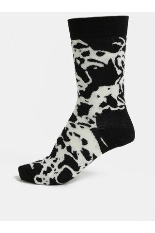 Sosete de dama alb-negru cu model Happy Socks Marble