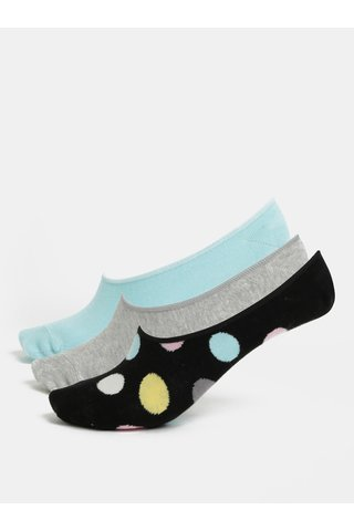 Set de 5 perechi de sosete de dama gri, albastru si negru Happy Socks 3-Pack Big Dot Liners