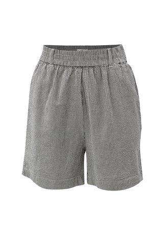 Pantaloni scurti alb-negru in carouri cu talie inalta Moss Copenhagen