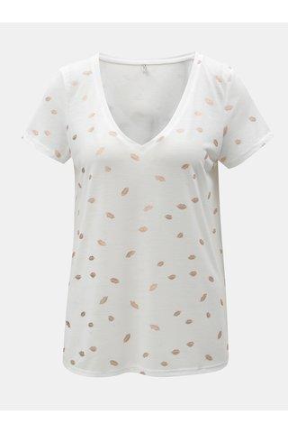 Tricou alb cu motiv de buze ONLY Isabella