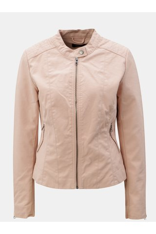 Jacheta roz din piele sintetica cu buzunare ONLY Saga