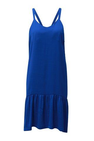 Rochie albastra cu bretele si terminatie cu volan Moss Copenhagen