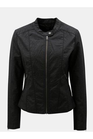 Černá koženková bunda s kapsami ONLY Saga