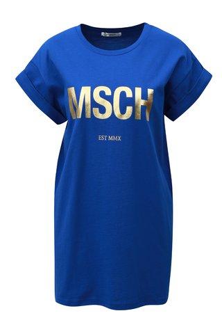 Tricou albastru lejer cu print auriu Moss Copenhagen